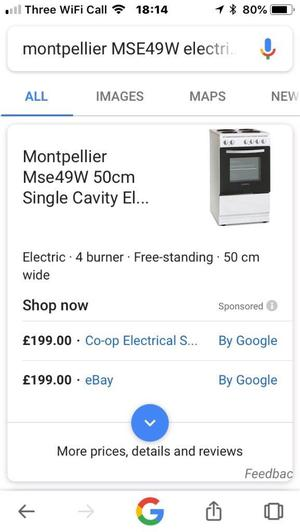 Free standing electric cooker brand new in box