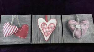 Set of 3 Heart Canvases. Very Good Condition!
