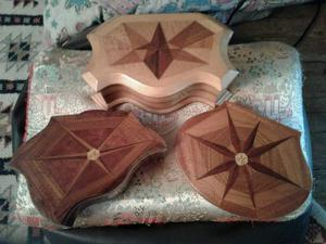 NO TEXTS PLEASE. JEWELLERY BOXES (MARQUETRY) x 3 £12 each or £30 for the 3.