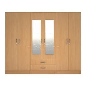 Beatrice wardrobe 4 you, 2,28m wide 6 door beech wardrobe