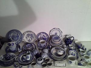 Blue & White Pottery Large Job Lot - Willow Pattern & Other