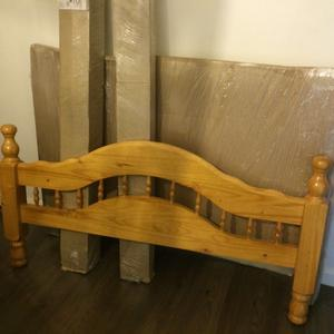Brand New Wooden Cuban Double Bed Frame - Light Antique Wood