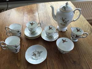 Crown Staffordshire bone china 'Game' tea pot and tea set