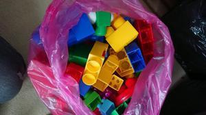 Kids mega blocks and wooden bricks
