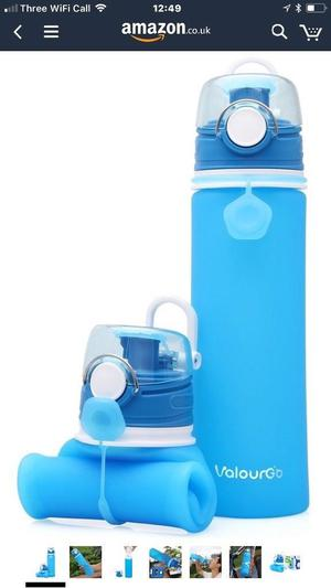 ValourGo Collapsible Water Bottle with Leak Proof Valve - BPA Free Silicone Foldable Squeeze