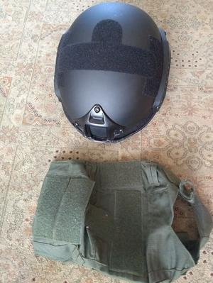 Black Kombat Tactical Fast Helmet with Olive Green Cover for Airsoft or Painball