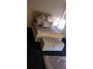 Crushed velvet cream double bed in Peterborough
