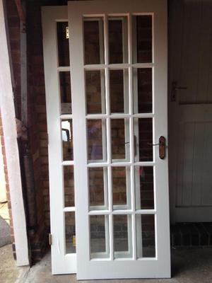 Two glazed hardwood interior doors