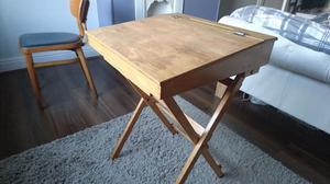Vintage Wooden School Desk and Chair (Office/Folding Desk)