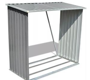 vidaXL Log Storage Shed Galvanised Steel  New
