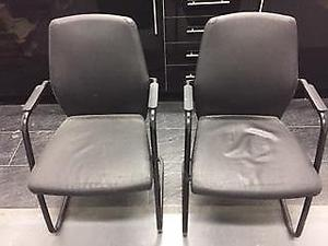 Black Frame Conference Chairs With Arms (2 Pack)