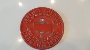 Vintage French Metal Aluminium Sign Plaque DANGER DE MORT