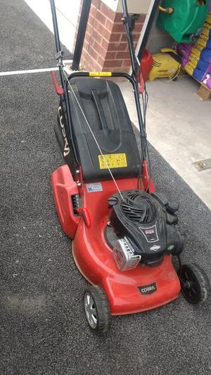 "1 year old Cobra RM46 SPB 18"" self propelled lawn mower rear"
