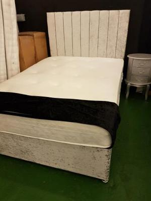 4ft6 double bed Silver Crushed Velvet