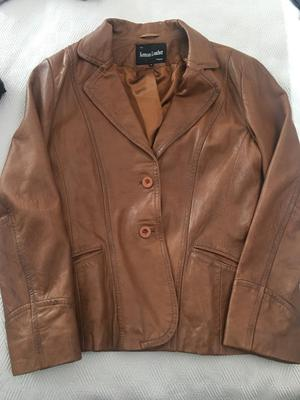 Tan leather jacket size 16