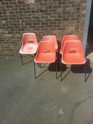 5 Orange Vintage /Retro chairs