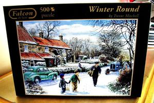 FALCON DE LUXE 500 PIECE JIGSAW PUZZLE WINTER ROUND - NEW &