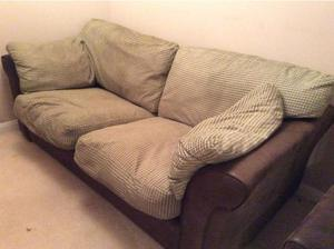 3 Piece Suite Brown Leather with Fabric Cushions in Rugby