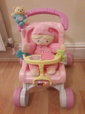 Fisher price stroll along dolls pushchair/ baby walker + dol