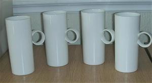 Four White Tall Skinny Tea/Coffee Mugs - unused