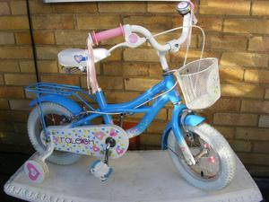 """RALEIGH GIRLS 12"""" WHEEL BIKE WITH FITTED STABILISERS HARDLY USED AGE 3+"""