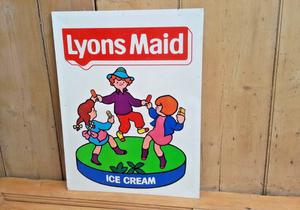 original LYONS MAID ICE CREAM GOOD TIME dancing children sweet shop sign 3 images