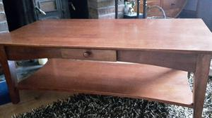 Large solid wooden vintage heavy coffee table with large shelf and small drawer