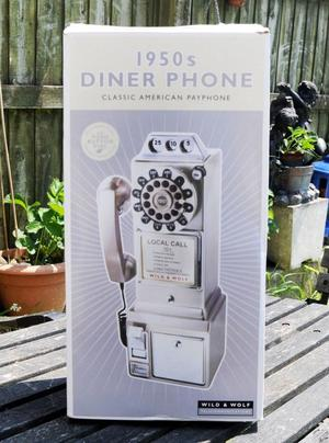 'S DINER PHONE WALL TELEPHONE BY WILD & WOLF NEW BOXED
