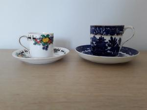 Two china cups and saucers circa