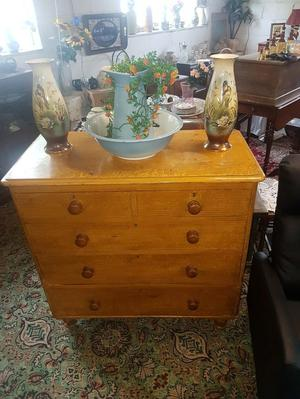 victorian pine chest of drawers in original comb work
