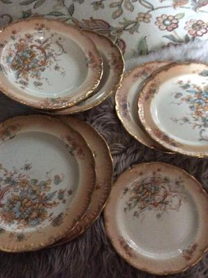 7 Pretty Antique china serving plates