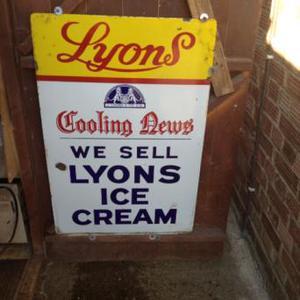 Enamel LYONS ICE CREAM SIGN