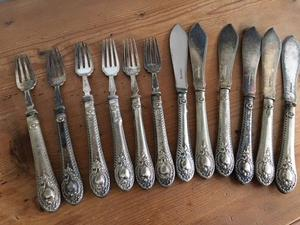 Silver plated vintage fish knives and forks, set of 6