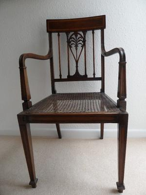 A PAIR OF ANTIQUE EDWARDIAN INLAID MAHOGANY CANE CHAIRS