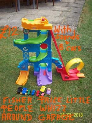 FISHER PRICE LITTLE PEOPLE WHIZZ AROUND GARAGE,TOOT TOOT CAR