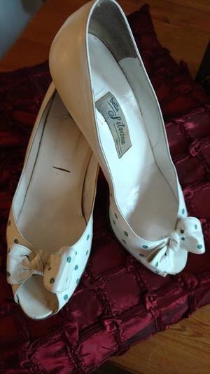 Vintage 's All Leather Italian Peep Toe Court Shoes