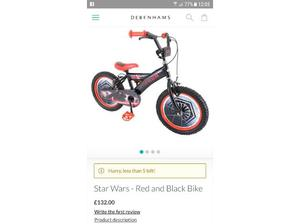 Boys 16 inch Star Wars Bike and accessories! in Cardiff