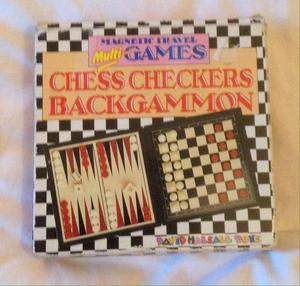Chess Draughts Backgammon Set 3 in 1 Travel Game. Complete And VGC.