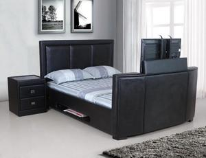 BRAND NEW DOUBLE LEATHER TV BED REMOTE ELECTRIC GASLIFT STORAGE