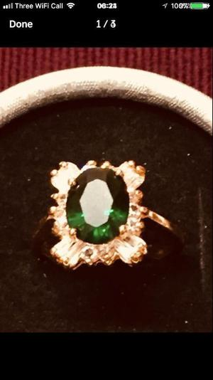 Brand new 24k gold plated deep green ring