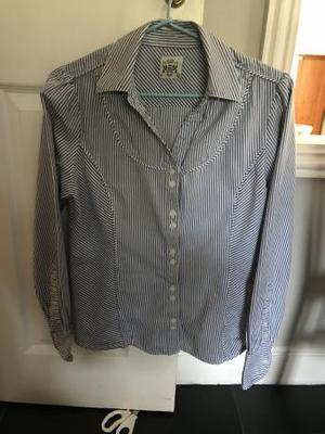 Crew blue/white striped shirt. Size 10. Lovely cuff detail.