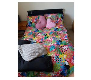 DOUBLE BED FRAME WITH MATTRESS AND HEADBOARD