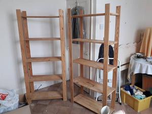 Pine storage racks. Ideal for shed or garage. £30 for the pair Redcar Ings.