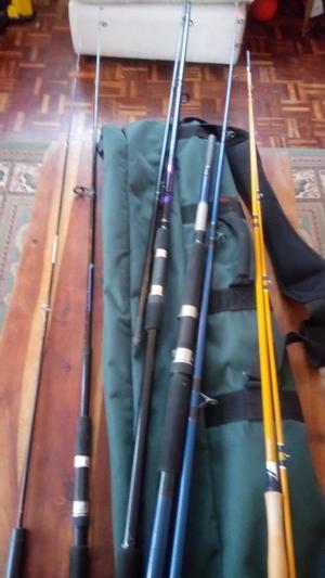 Fishing Rods x 5 in Shoulder bag Daiwa, Leeda,intrepid
