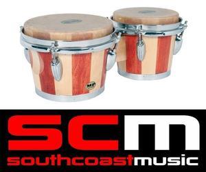 "Mano Percussion MP"" Bongo Drums Pair Natural Hide"