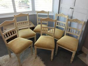 Set of 6 dining chairs, Edwardian painted shabby chic