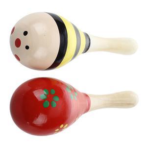 2 X Wood Maracas Musical Instrument Toy For Kids B5O6