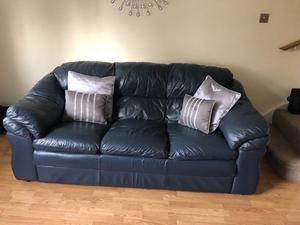 *FOR SALE* Navy Leather 3 & 2 seater sofa with footstool