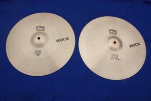 Vintage s Paiste  Black Logo 15 inch Heavy Rock Hi Hat Cymbals for Drum kit