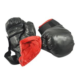Black Faux Leather Sponge Pad Boxing Gloves Pair For Child